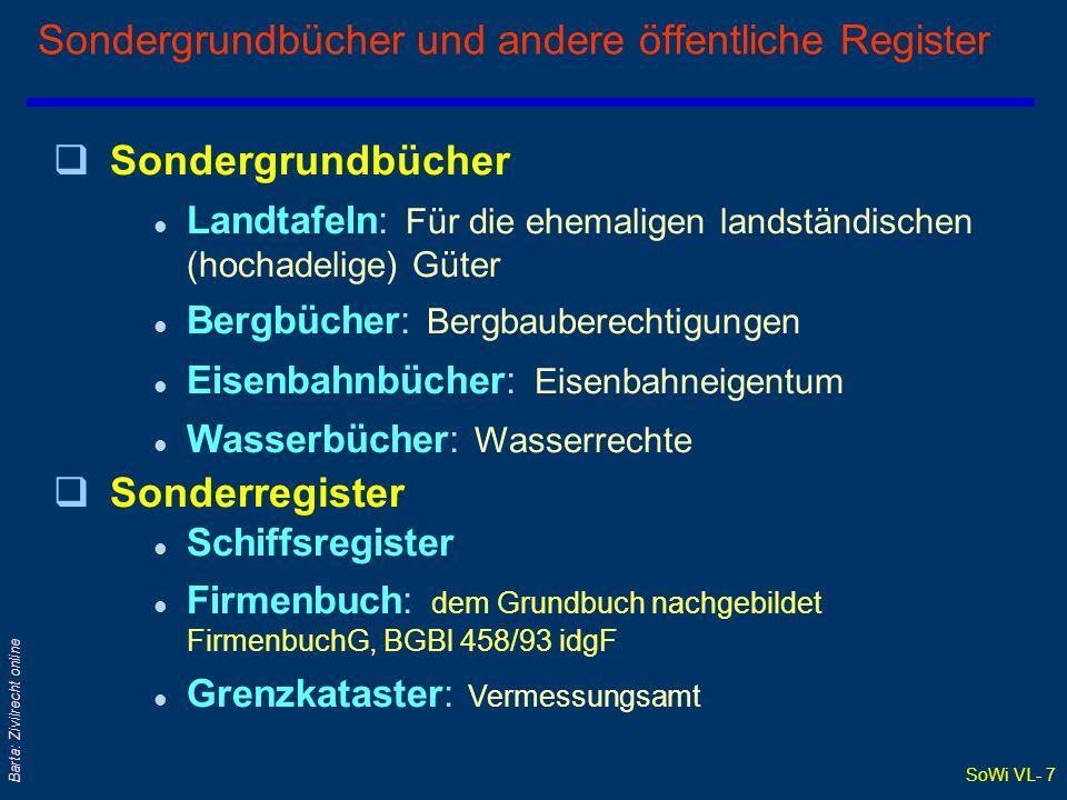 SoWi VL- 7 Barta: Zivilrecht online Sondergrundbücher und andere öffentliche Register qSondergrundbücher l Landtafeln: Für die ehemaligen landständisc