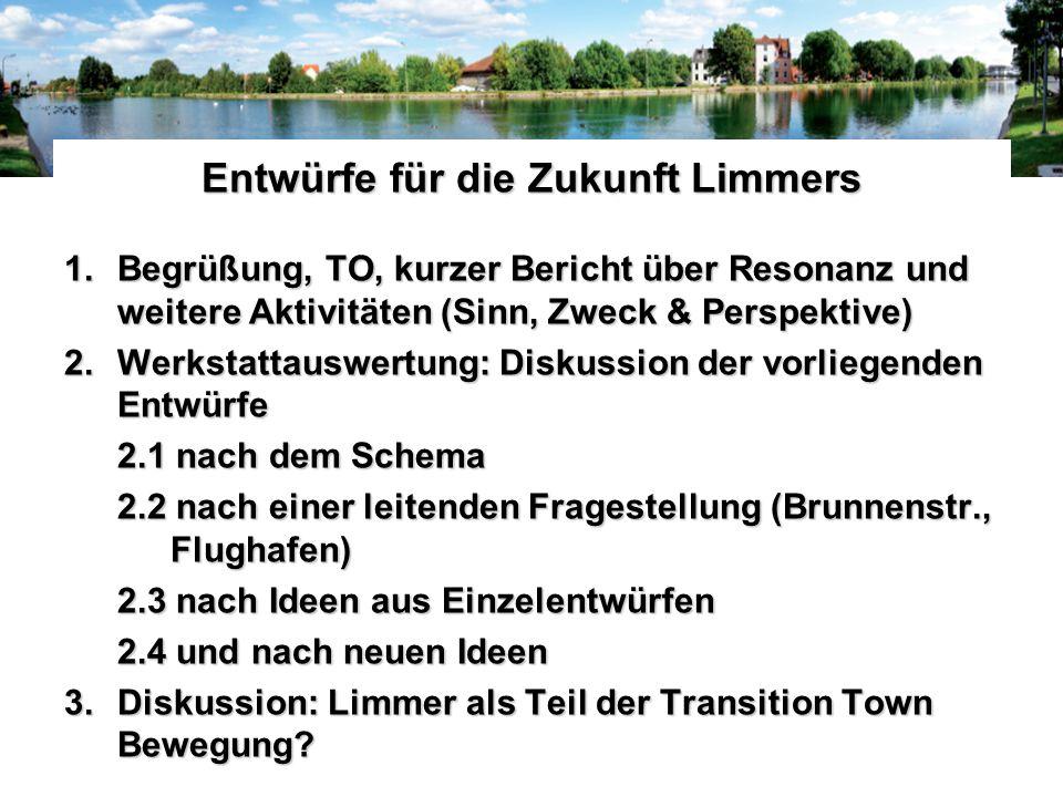 Entwürfe für die Zukunft Limmers 1.Begrüßung, TO, kurzer Bericht über Resonanz und weitere Aktivitäten (Sinn, Zweck & Perspektive) 2.Werkstattauswertu