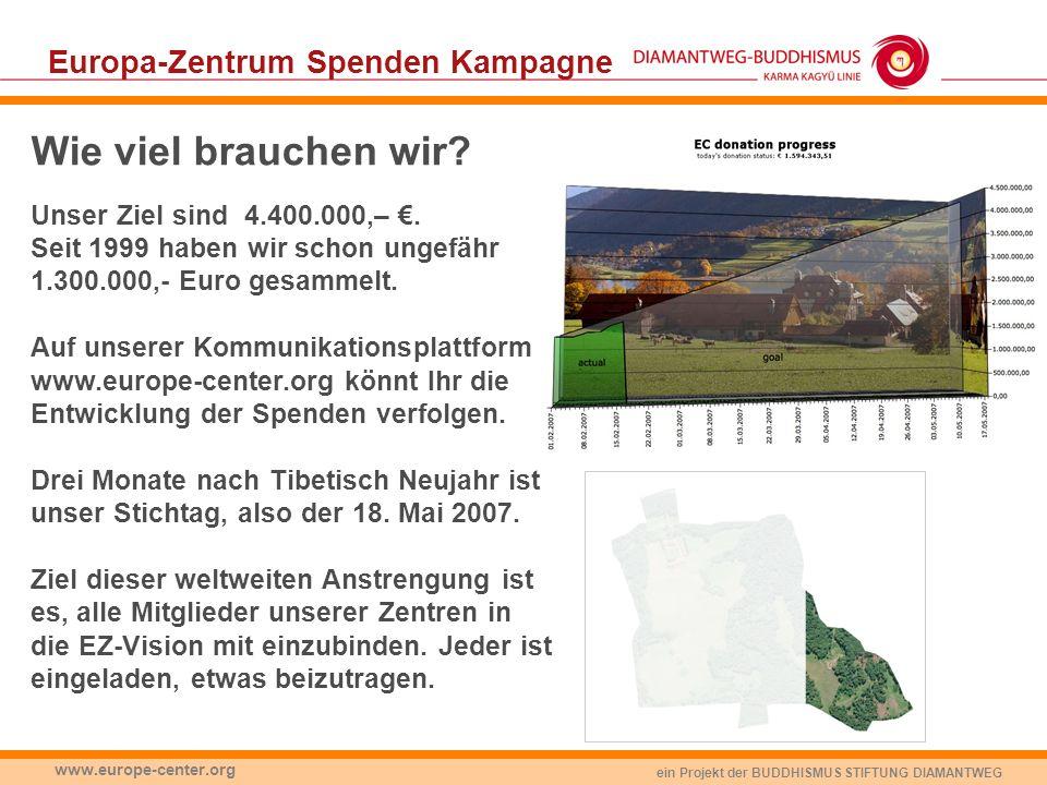 ein Projekt der BUDDHISMUS STIFTUNG DIAMANTWEG www.europe-center.org Europa-Zentrum Spenden Kampagne Wie viel brauchen wir? Unser Ziel sind 4.400.000,