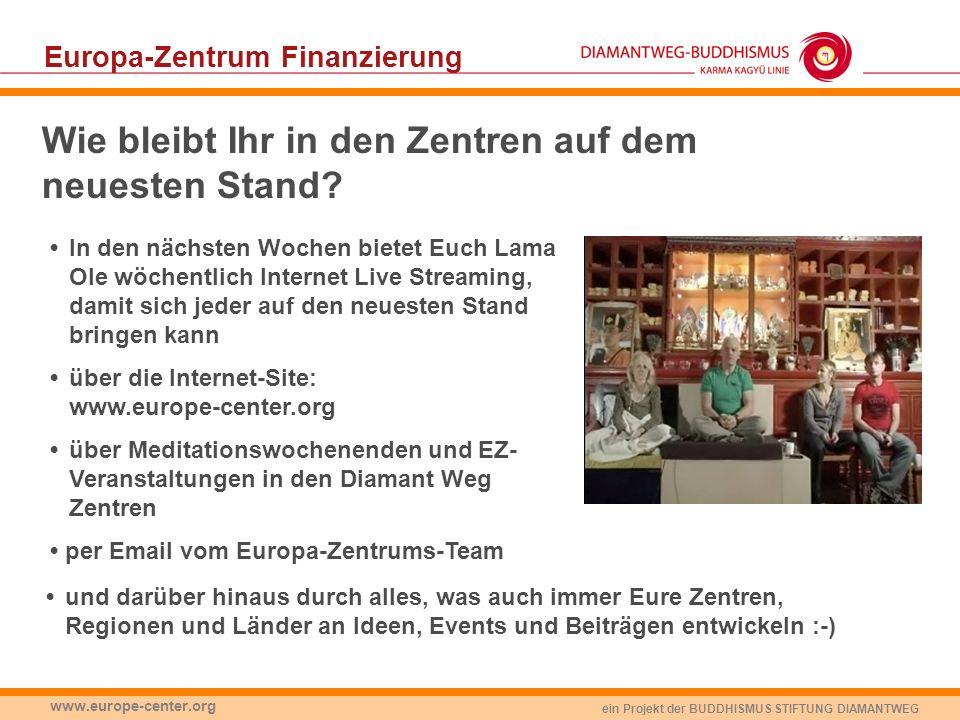 ein Projekt der BUDDHISMUS STIFTUNG DIAMANTWEG www.europe-center.org Wie bleibt Ihr in den Zentren auf dem neuesten Stand? In den nächsten Wochen biet