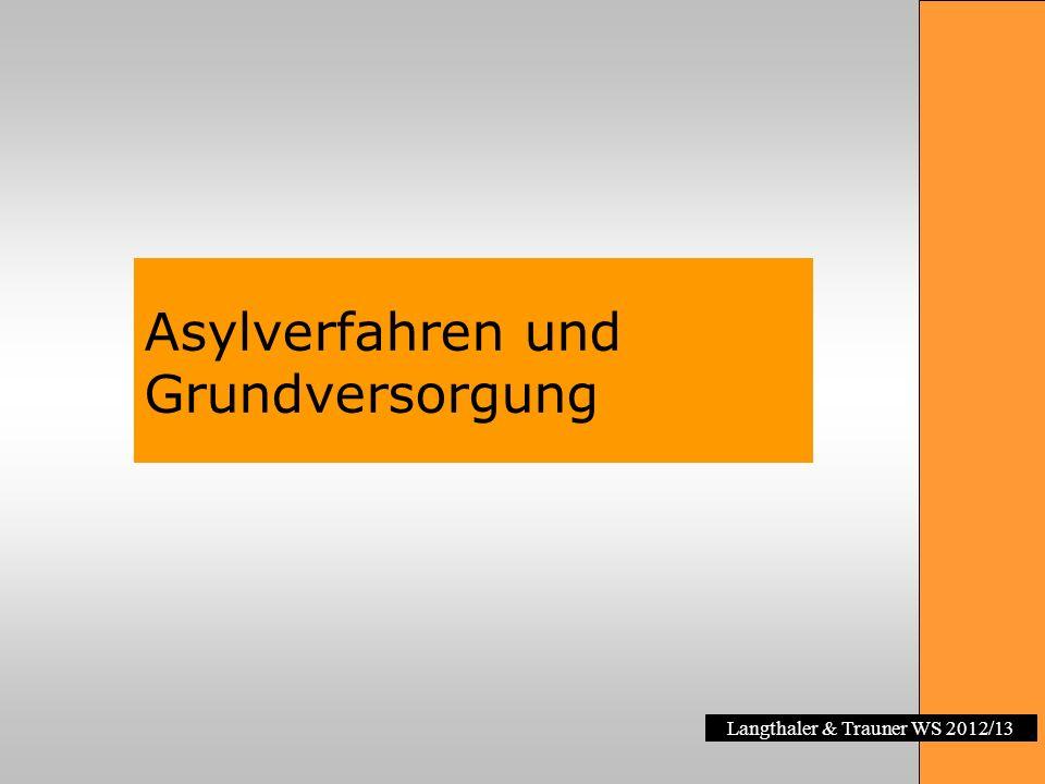 Langthaler & Trauner WS 2012/13 Asylverfahren und Grundversorgung