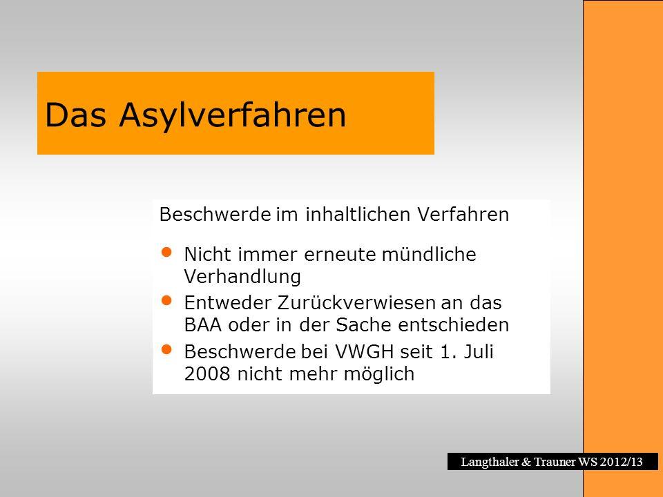 Langthaler & Trauner WS 2012/13 Das Asylverfahren Beschwerde im inhaltlichen Verfahren Nicht immer erneute mündliche Verhandlung Entweder Zurückverwie