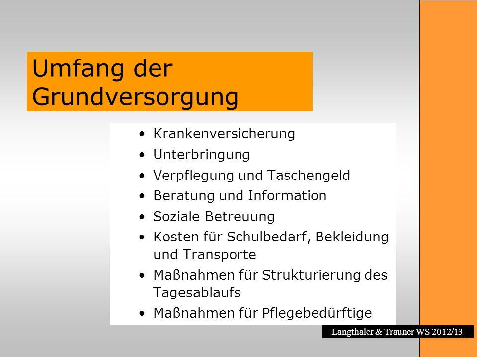Langthaler & Trauner WS 2012/13 Umfang der Grundversorgung Krankenversicherung Unterbringung Verpflegung und Taschengeld Beratung und Information Sozi