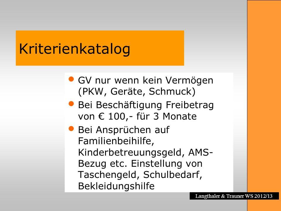 Langthaler & Trauner WS 2012/13 Kriterienkatalog GV nur wenn kein Vermögen (PKW, Geräte, Schmuck) Bei Beschäftigung Freibetrag von 100,- für 3 Monate