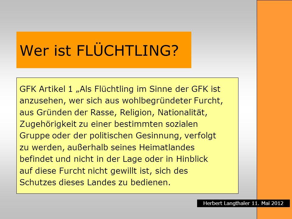 Herbert Langthaler 11. Mai 2012 Wer ist FLÜCHTLING? GFK Artikel 1 Als Flüchtling im Sinne der GFK ist anzusehen, wer sich aus wohlbegründeter Furcht,