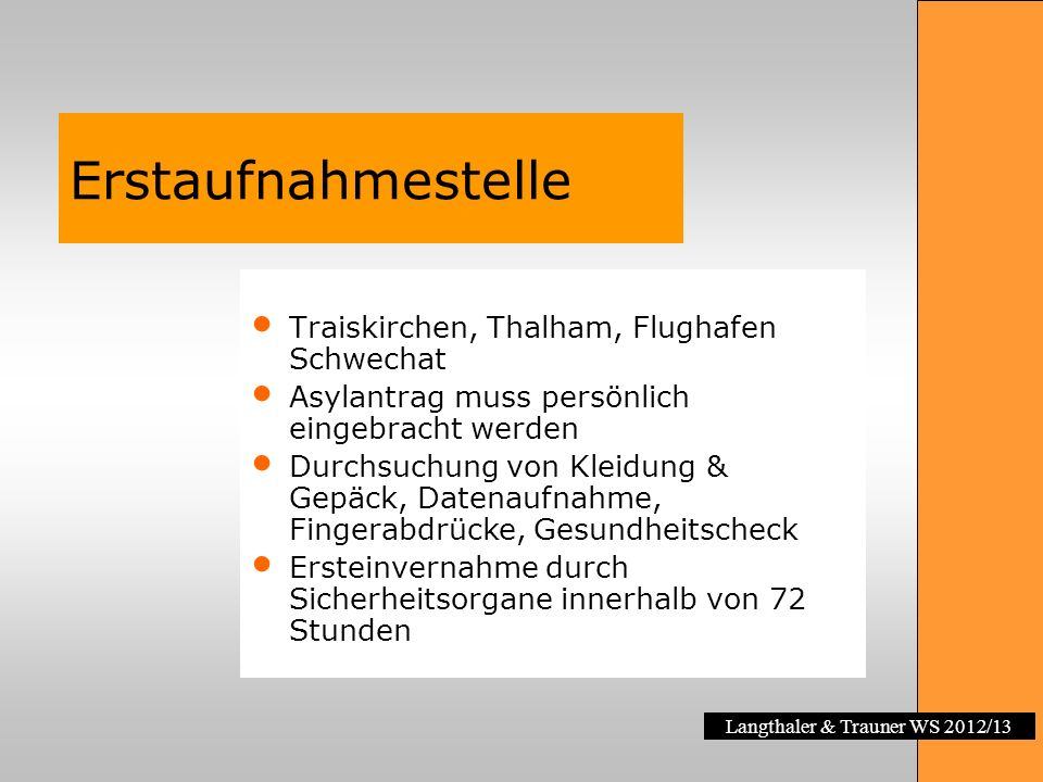 Langthaler & Trauner WS 2012/13 Erstaufnahmestelle Traiskirchen, Thalham, Flughafen Schwechat Asylantrag muss persönlich eingebracht werden Durchsuchu
