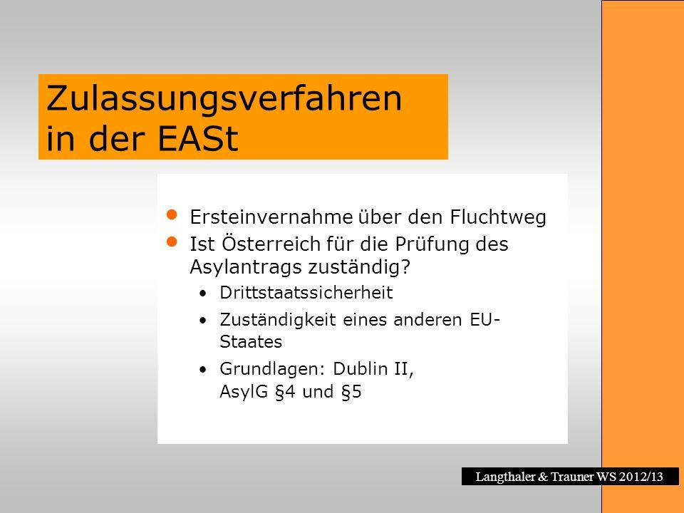 Langthaler & Trauner WS 2012/13 Zulassungsverfahren in der EASt Ersteinvernahme über den Fluchtweg Ist Österreich für die Prüfung des Asylantrags zust
