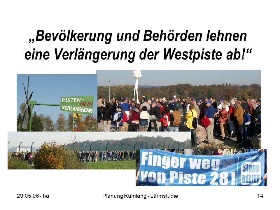 29.05.06 - haPlanung Rümlang - Lärmstudie14 Bevölkerung und Behörden lehnen eine Verlängerung der Westpiste ab!