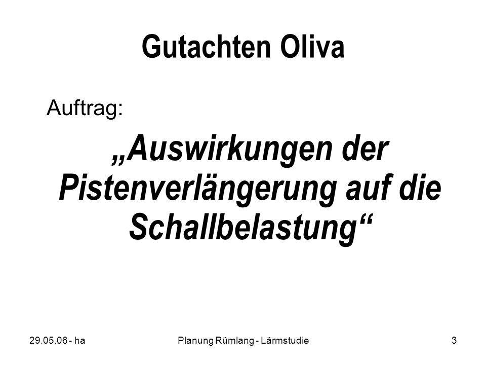 29.05.06 - haPlanung Rümlang - Lärmstudie3 Gutachten Oliva Auftrag: Auswirkungen der Pistenverlängerung auf die Schallbelastung