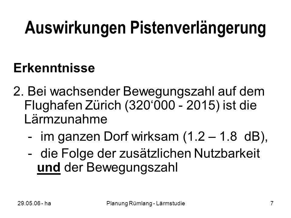 29.05.06 - haPlanung Rümlang - Lärmstudie7 Auswirkungen Pistenverlängerung Erkenntnisse 2.