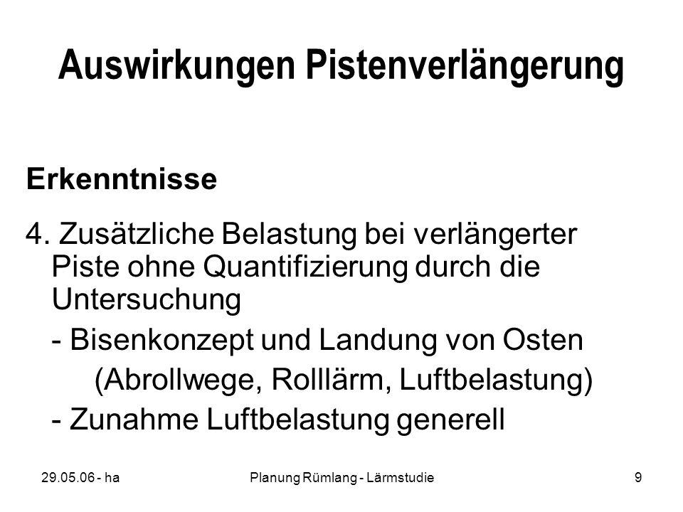29.05.06 - haPlanung Rümlang - Lärmstudie9 Auswirkungen Pistenverlängerung Erkenntnisse 4.