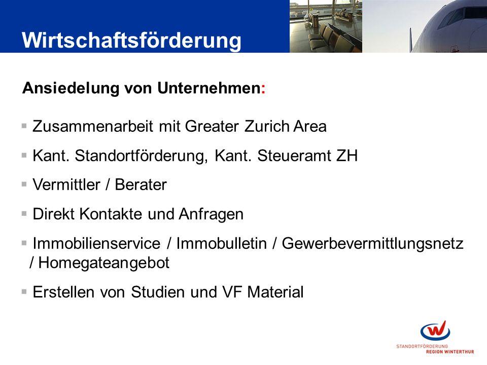 Ansiedelung von Unternehmen: Zusammenarbeit mit Greater Zurich Area Kant.