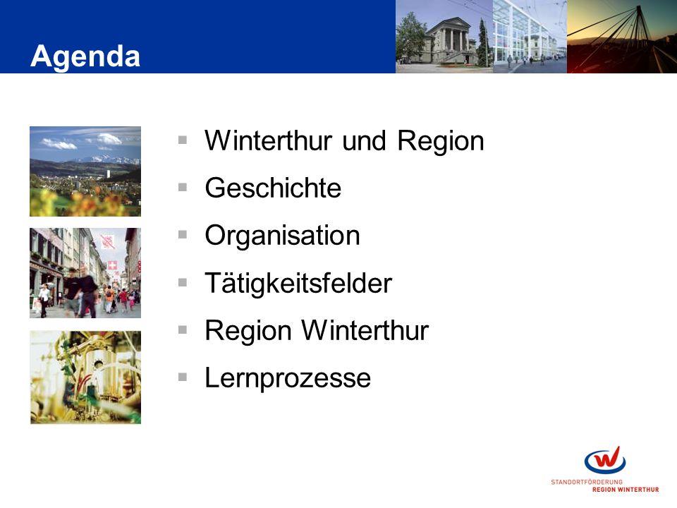 Winterthur und Region Geschichte Organisation Tätigkeitsfelder Region Winterthur Lernprozesse Agenda