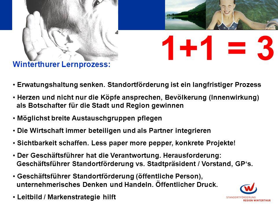1+1 = 3 Winterthurer Lernprozess: Erwatungshaltung senken.