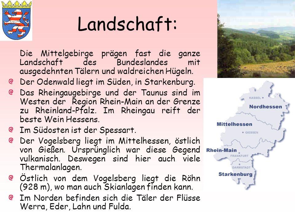 Landschaft: Die Mittelgebirge prägen fast die ganze Landschaft des Bundeslandes mit ausgedehnten Tälern und waldreichen Hügeln. Der Odenwald liegt im