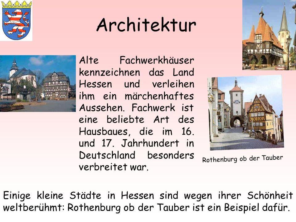 Architektur Alte Fachwerkhäuser kennzeichnen das Land Hessen und verleihen ihm ein märchenhaftes Aussehen. Fachwerk ist eine beliebte Art des Hausbaue