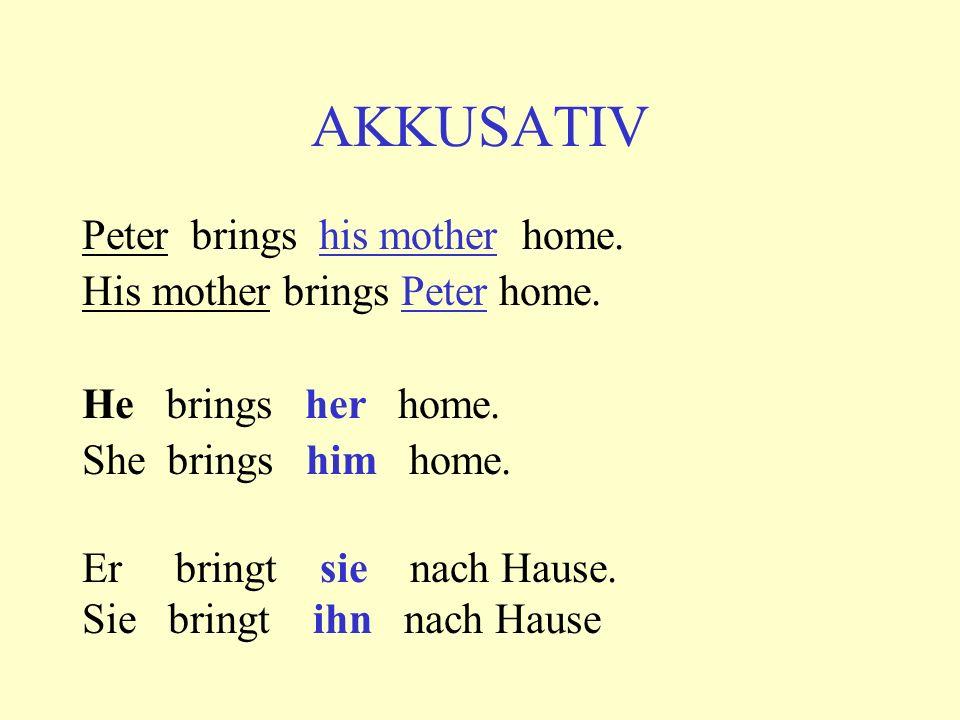 AKKUSATIV Peter brings his mother home. His mother brings Peter home. He brings her home. She brings him home. Er bringt sie nach Hause. Sie bringt ih