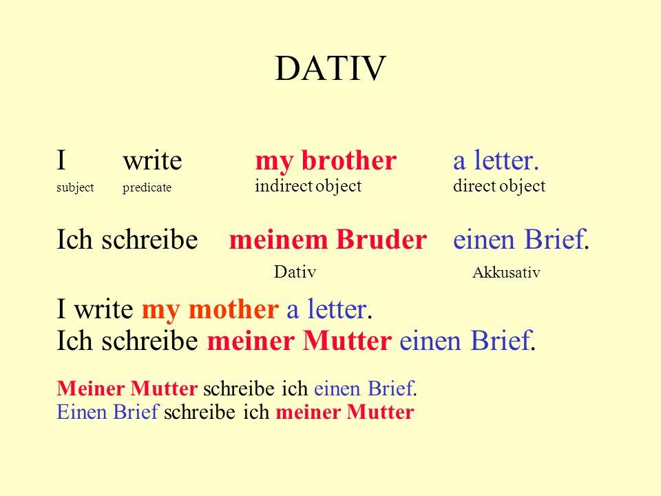 DATIV I write my brother a letter. subjectpredicate indirect objectdirect object Ich schreibe meinem Bruder einen Brief. Dativ Akkusativ I write my mo