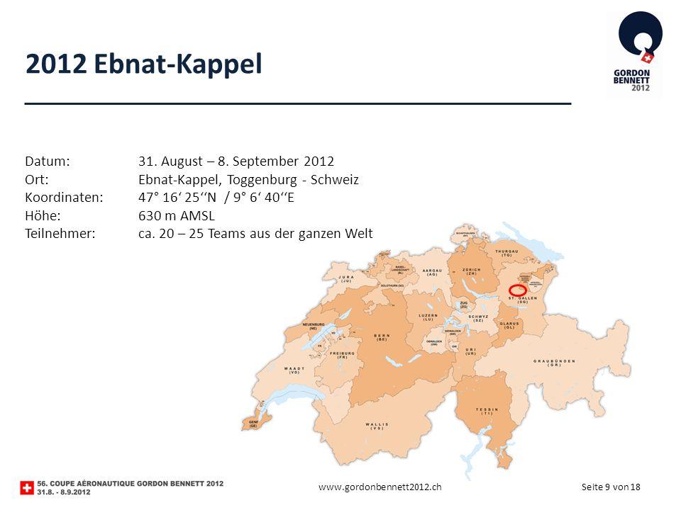 Seite 9 von 18 2012 Ebnat-Kappel www.gordonbennett2012.ch Datum:31. August – 8. September 2012 Ort:Ebnat-Kappel, Toggenburg - Schweiz Koordinaten:47°