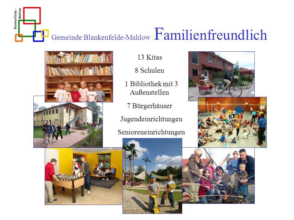 Gemeinde Blankenfelde-Mahlow F amilienfreundlich 13 Kitas 8 Schulen 1 Bibliothek mit 3 Außenstellen 7 Bürgerhäuser Jugendeinrichtungen Senioreneinrich