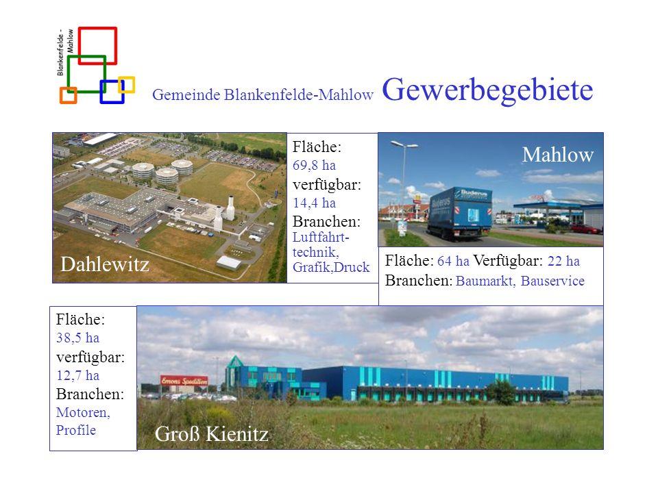 Gemeinde Blankenfelde-Mahlow Gewerbegebiete Dahlewitz Fläche: 69,8 ha verfügbar: 14,4 ha Branchen: Luftfahrt- technik, Grafik,Druck Fläche: 64 ha Verf