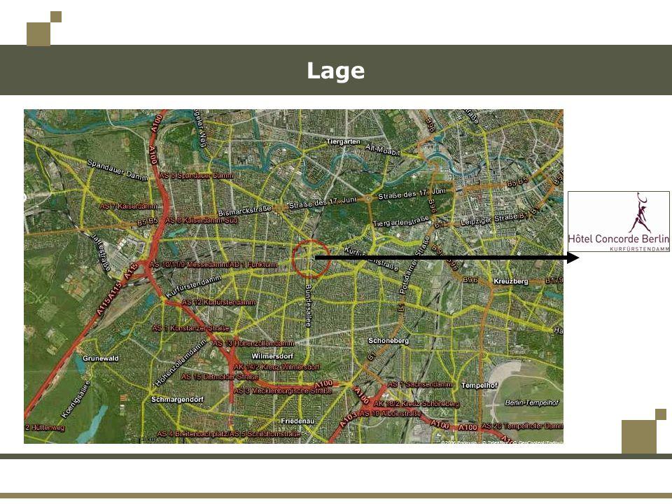 Verkehrsanbindung Im Zentrum U-Bahn-, S-Bahn- und Bus-Verbindung: in alle Bezirke der Stadt zu den Flughäfen zum Bahnhof zu allen Sehenswürdigkeiten, Museen und anderen kulturellen Angeboten Berlin ist gut zu erreichen: 2 Autostunden von Hamburg 4 Stunden 30 Minuten mit der Bahn von Prag Gute Verkehrsanbindung z.B.