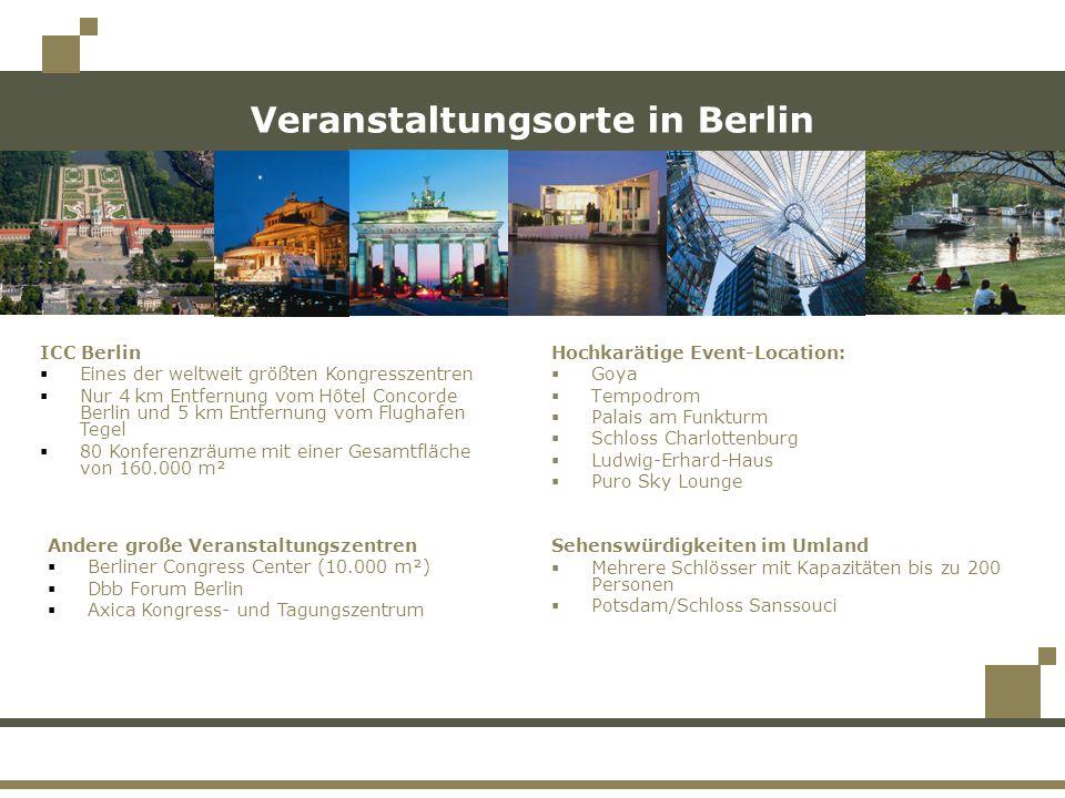 Veranstaltungsorte in Berlin Hochkarätige Event-Location: Goya Tempodrom Palais am Funkturm Schloss Charlottenburg Ludwig-Erhard-Haus Puro Sky Lounge