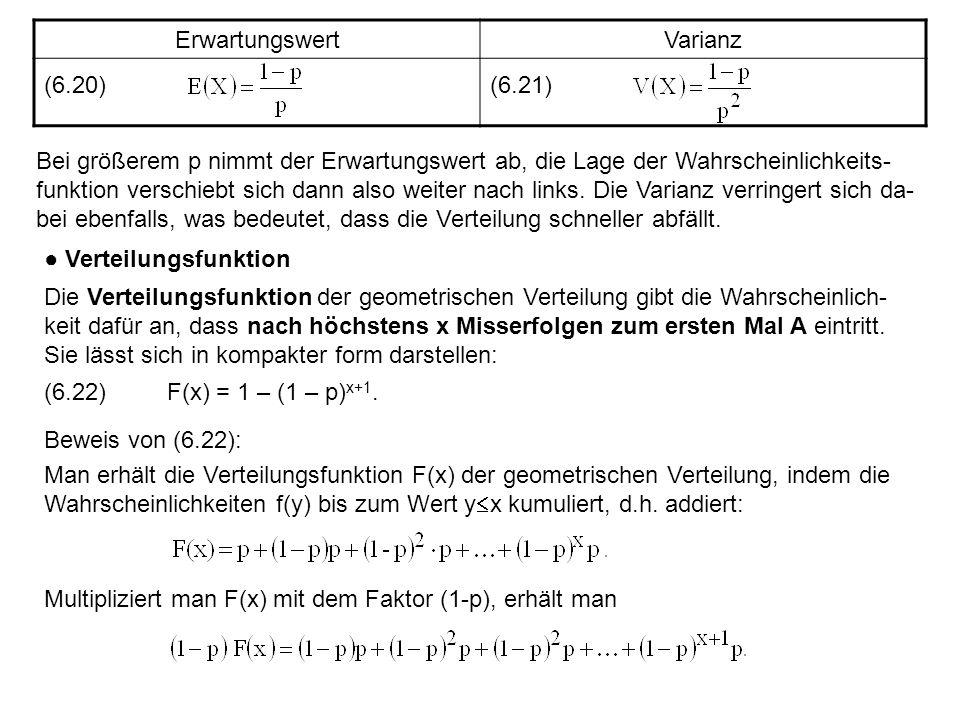 ErwartungswertVarianz (6.20)(6.21) Bei größerem p nimmt der Erwartungswert ab, die Lage der Wahrscheinlichkeits- funktion verschiebt sich dann also we