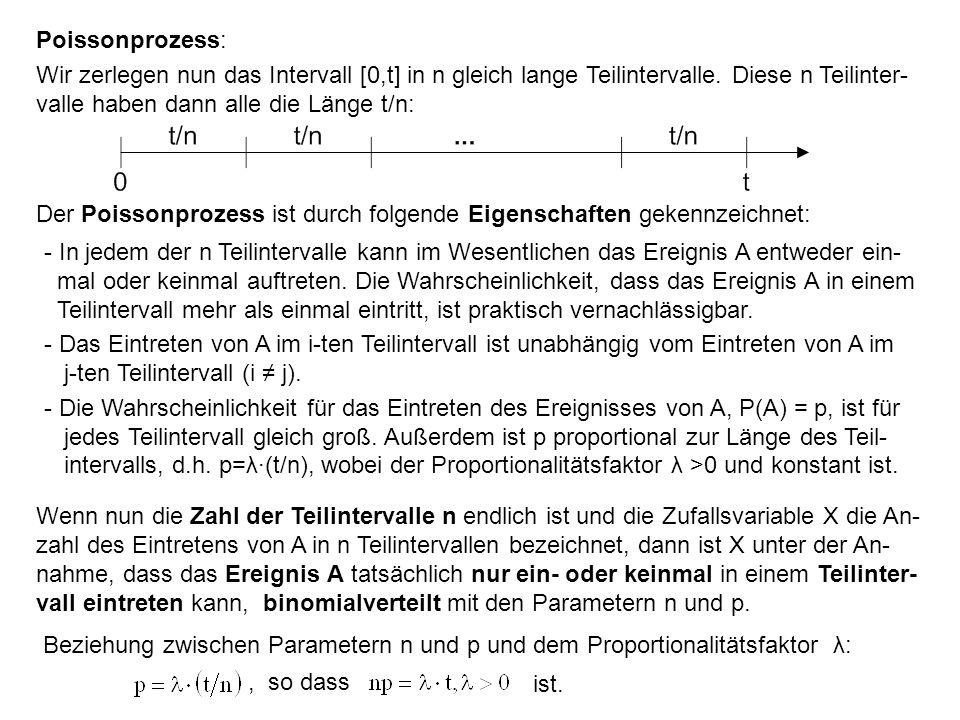 Poissonprozess: Wir zerlegen nun das Intervall [0,t] in n gleich lange Teilintervalle. Diese n Teilinter- valle haben dann alle die Länge t/n: Der Poi