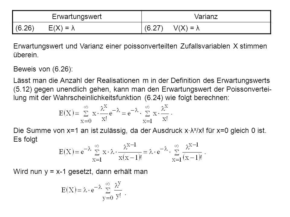 ErwartungswertVarianz (6.26) E(X) = λ(6.27) V(X) = λ Erwartungswert und Varianz einer poissonverteilten Zufallsvariablen X stimmen überein. Beweis von