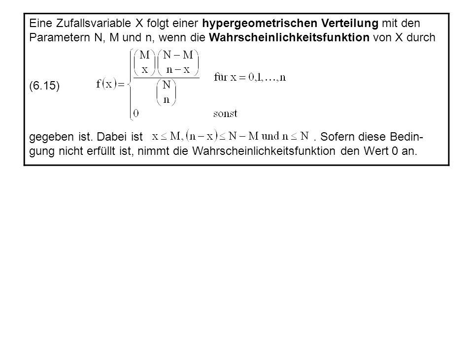 UrneStichprobe Beispiel 6.6: Wir illustrieren die hypergeometrische Verteilung an einem Urnenmodell.