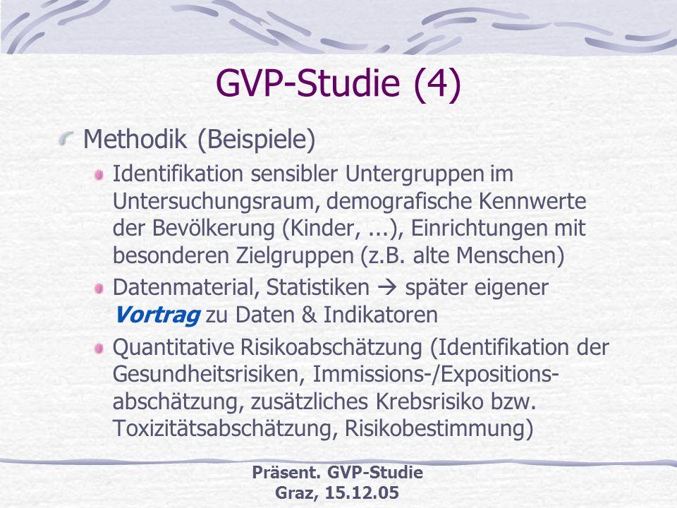 Präsent. GVP-Studie Graz, 15.12.05 GVP-Studie (3) GVP-Arbeitsschritte (Bielefelder Modell) Vorhabenanalyse Analyse/Abgrenzung Untersuchungsraum Bevölk