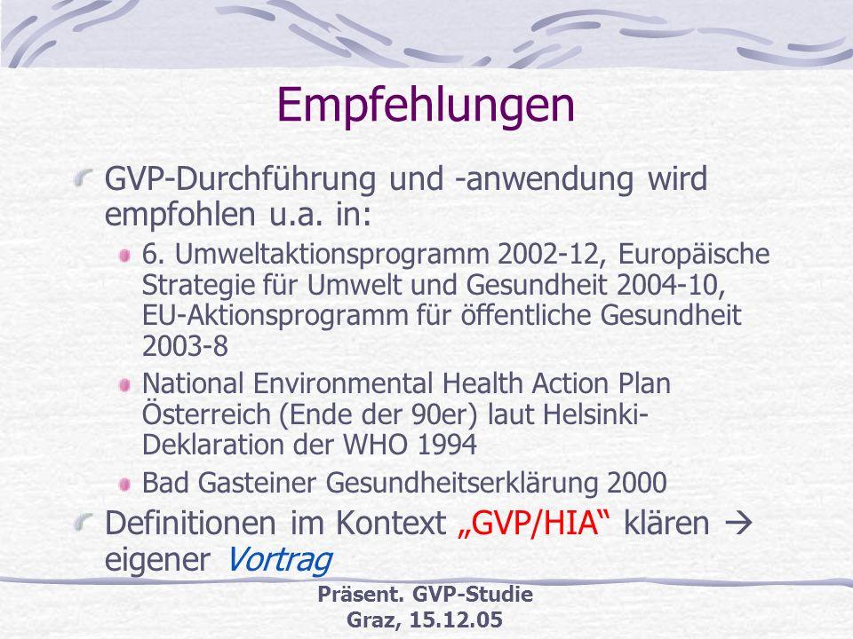 Präsent. GVP-Studie Graz, 15.12.05 GVP-Studie (6) Erstellte Checklisten (Auswahl) Gegenüberstellung Verfahren UVP/SUP mit Bielefelder GVP-Modell Scree