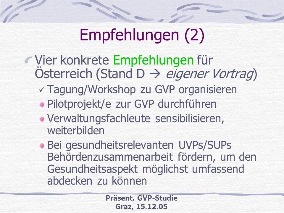 Präsent. GVP-Studie Graz, 15.12.05 Empfehlungen GVP-Durchführung und -anwendung wird empfohlen u.a. in: 6. Umweltaktionsprogramm 2002-12, Europäische