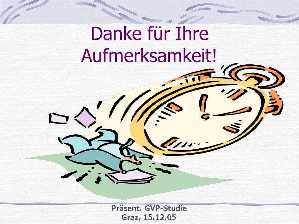 Präsent. GVP-Studie Graz, 15.12.05 Empfehlungen (2) Vier konkrete Empfehlungen für Österreich (Stand D eigener Vortrag) Tagung/Workshop zu GVP organis