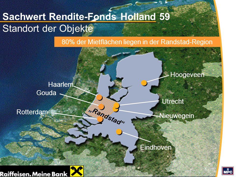 Sachwert Rendite-Fonds Holland 59 Standort der Objekte Eindhoven Utrecht Randstad Rotterdam Haarlem Gouda Nieuwegein Hoogeveen 80% der Mietflächen lie