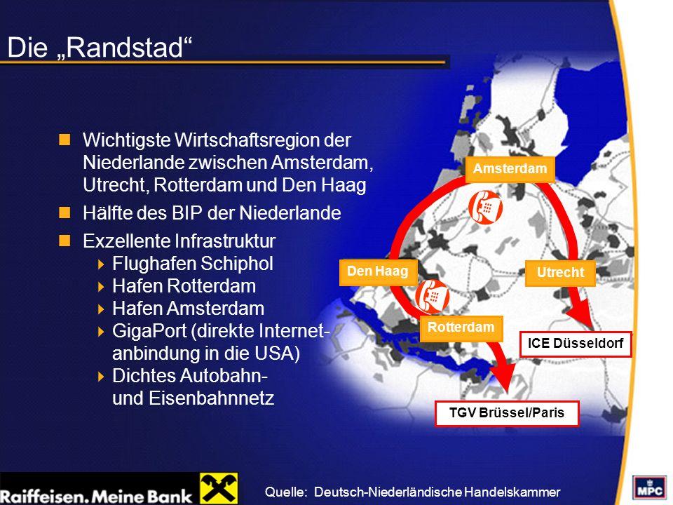 Die Randstad 44% der Bevölkerung der Niederlande leben in dieser Region Ballungsgebiet mit einer Bevölkerungsdichte von 1.000 Einwohnern/qkm Bedeutende Landwirtschafts- region innerhalb des Städterings (grünes Herz der Niederlande) Quelle:Deutsch-Niederländische Handelskammer TGV Brüssel/Paris ICE Düsseldorf ( ( Amsterdam Rotterdam Den Haag Utrecht