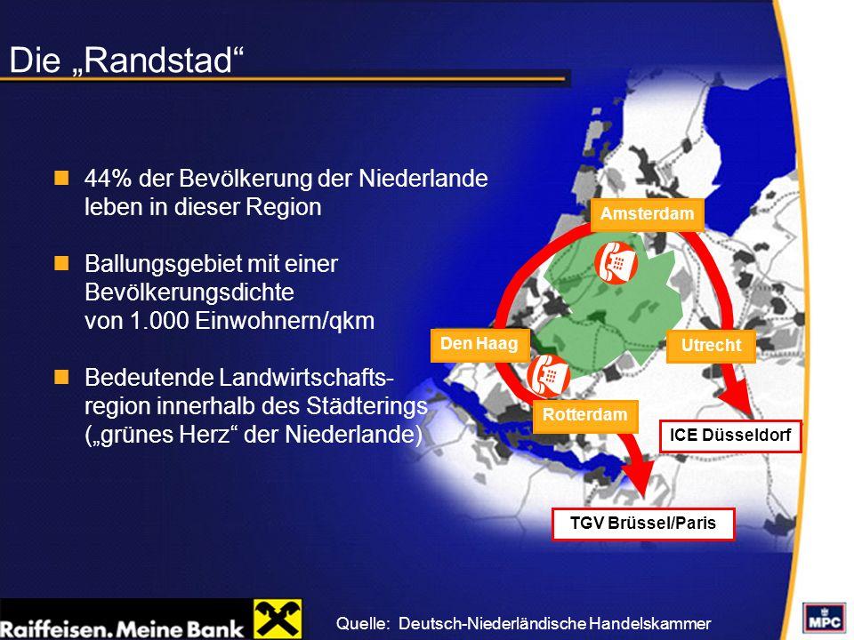Die Randstad 44% der Bevölkerung der Niederlande leben in dieser Region Ballungsgebiet mit einer Bevölkerungsdichte von 1.000 Einwohnern/qkm Bedeutend