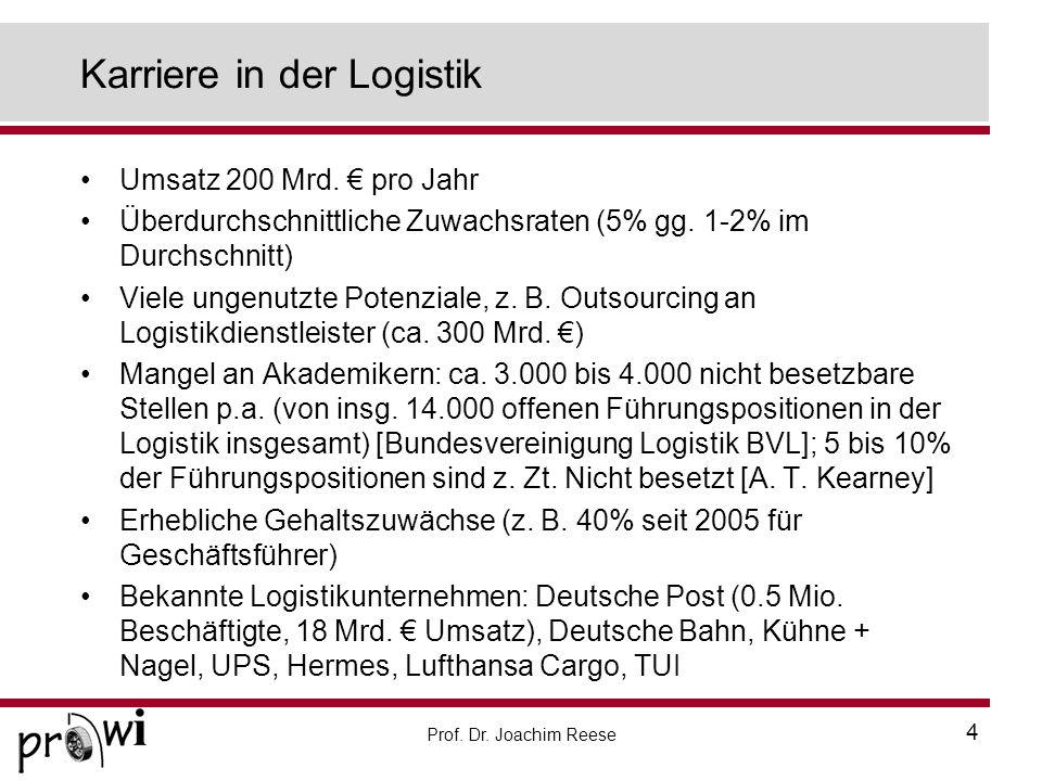 Prof. Dr. Joachim Reese 4 Karriere in der Logistik Umsatz 200 Mrd. pro Jahr Überdurchschnittliche Zuwachsraten (5% gg. 1-2% im Durchschnitt) Viele ung