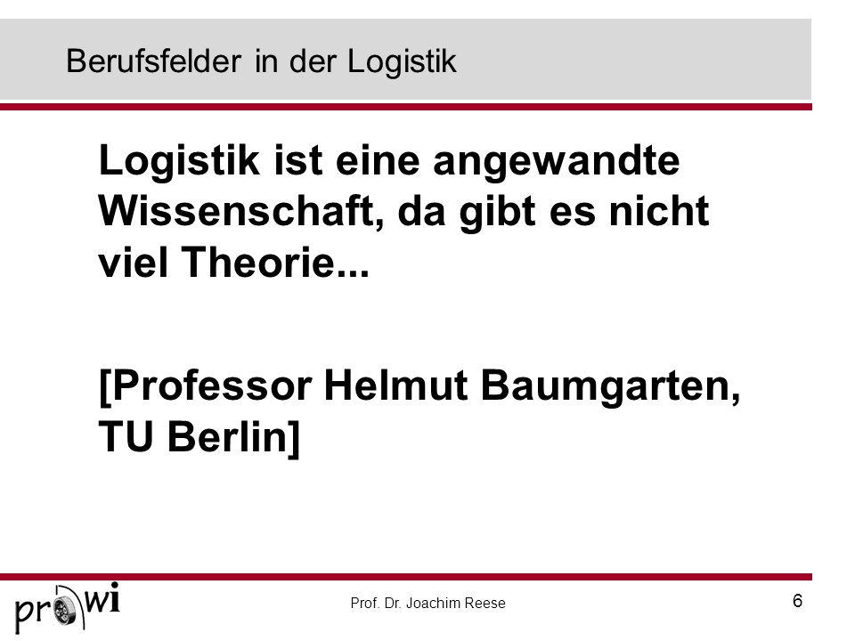 Prof. Dr. Joachim Reese 6 Berufsfelder in der Logistik Logistik ist eine angewandte Wissenschaft, da gibt es nicht viel Theorie... [Professor Helmut B