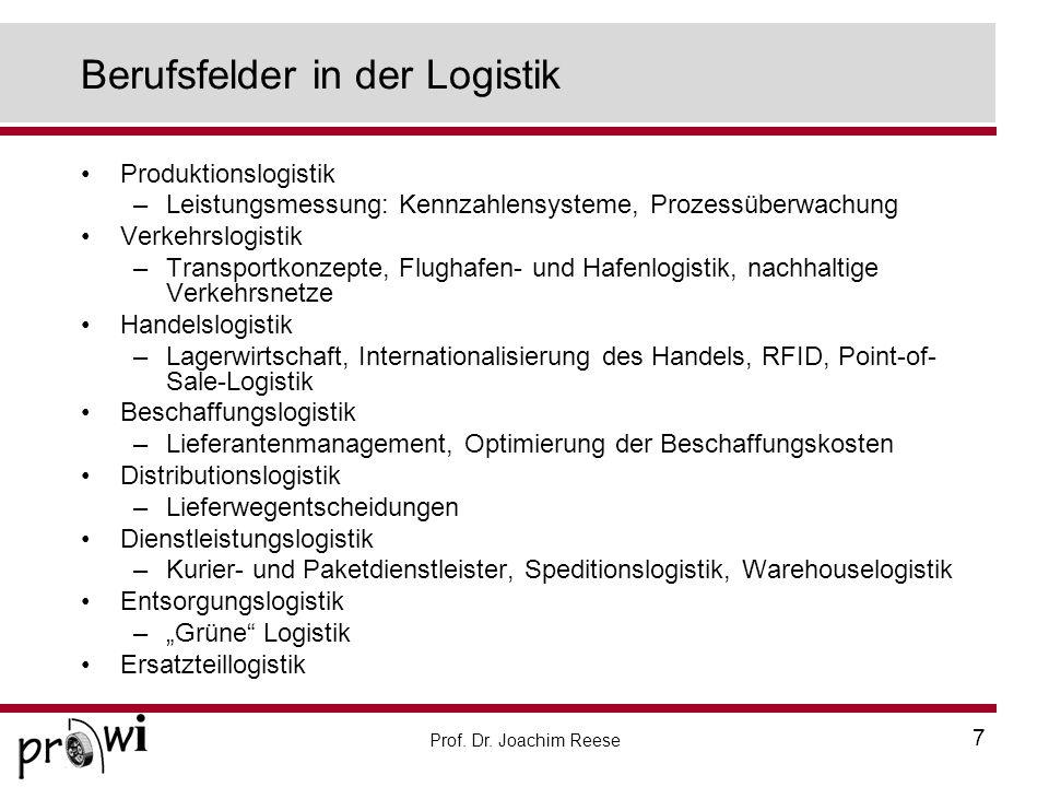 Prof. Dr. Joachim Reese 7 Berufsfelder in der Logistik Produktionslogistik –Leistungsmessung: Kennzahlensysteme, Prozessüberwachung Verkehrslogistik –