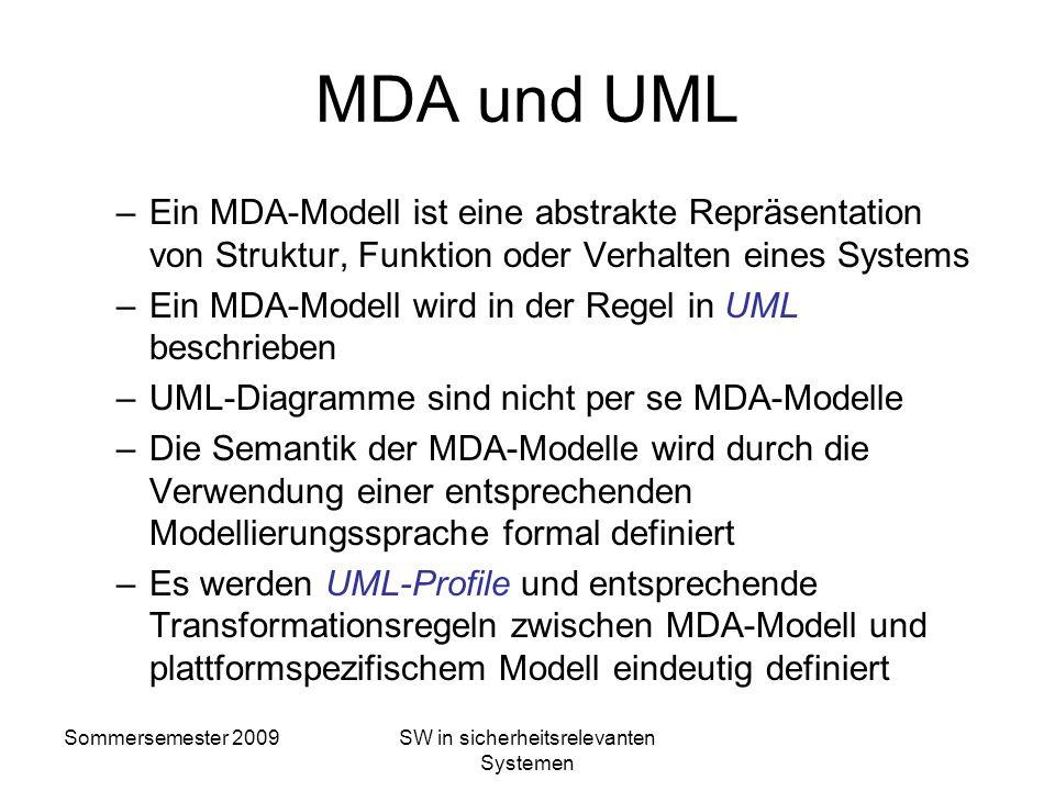 Sommersemester 2009SW in sicherheitsrelevanten Systemen Ausführbare Modelle Modelle, die durch die Verwendung eines Code-Generators direkt ausgeführt