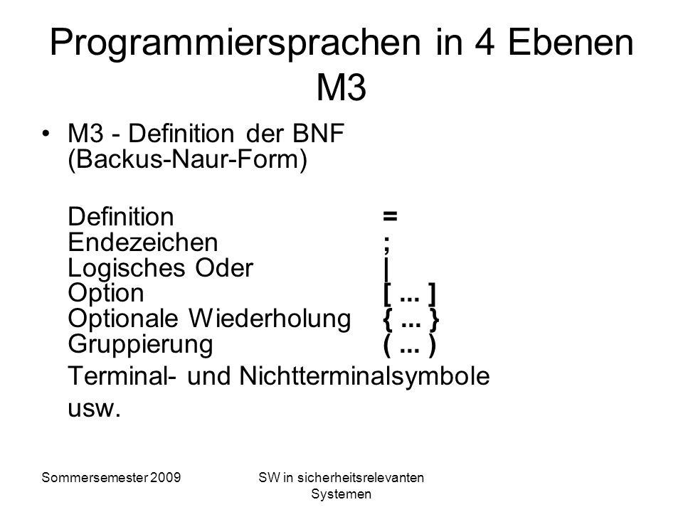 Sommersemester 2009SW in sicherheitsrelevanten Systemen Automatendefinition in 3 Ebenen M2: M1: M0: