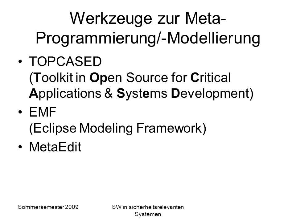 Sommersemester 2009SW in sicherheitsrelevanten Systemen Meta-Programmierung Meta-Modellierung Definition von Domänen-Spezifischen Sprachen (DSL) Model