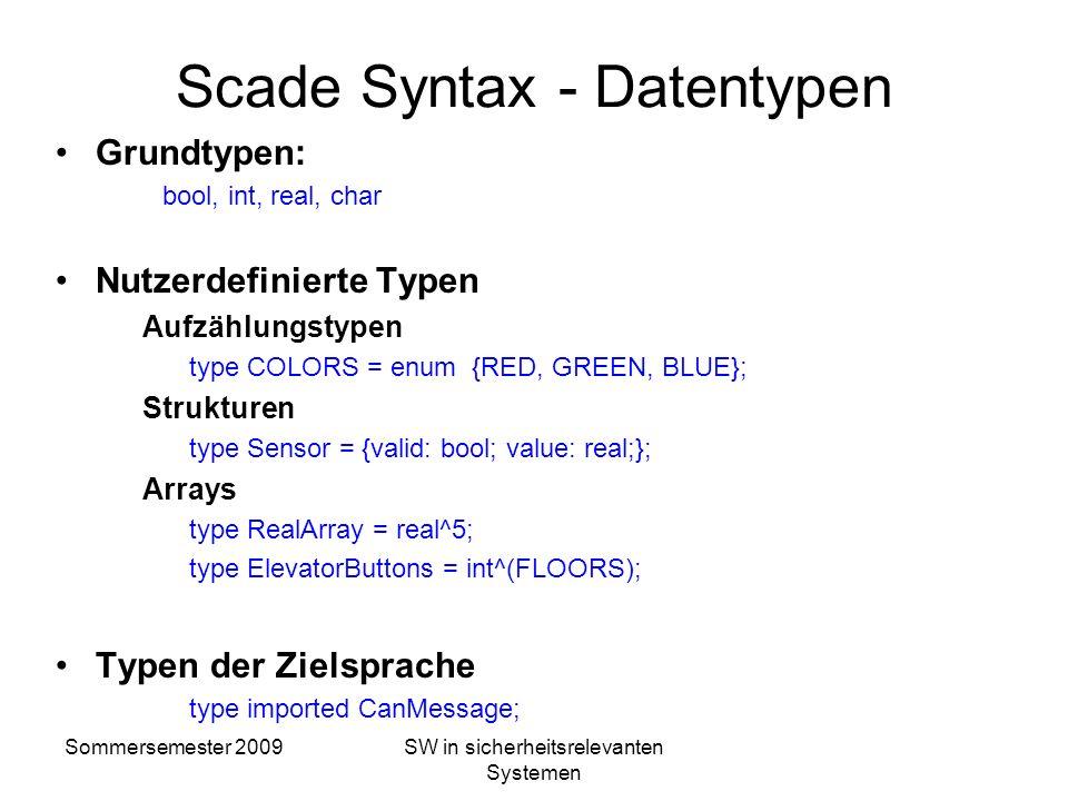 Sommersemester 2009SW in sicherheitsrelevanten Systemen Überblick über die SCADE-Syntax Daten –Starke Typisierung (bool, int, real, array, structure)