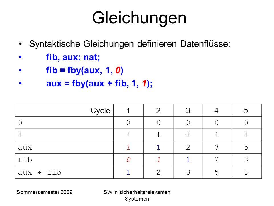 Sommersemester 2009SW in sicherheitsrelevanten Systemen SCADE Semantik Ein Datenfluss ist eine unendliche Folge von Datenwerten Cycle12345 Condfalsetr