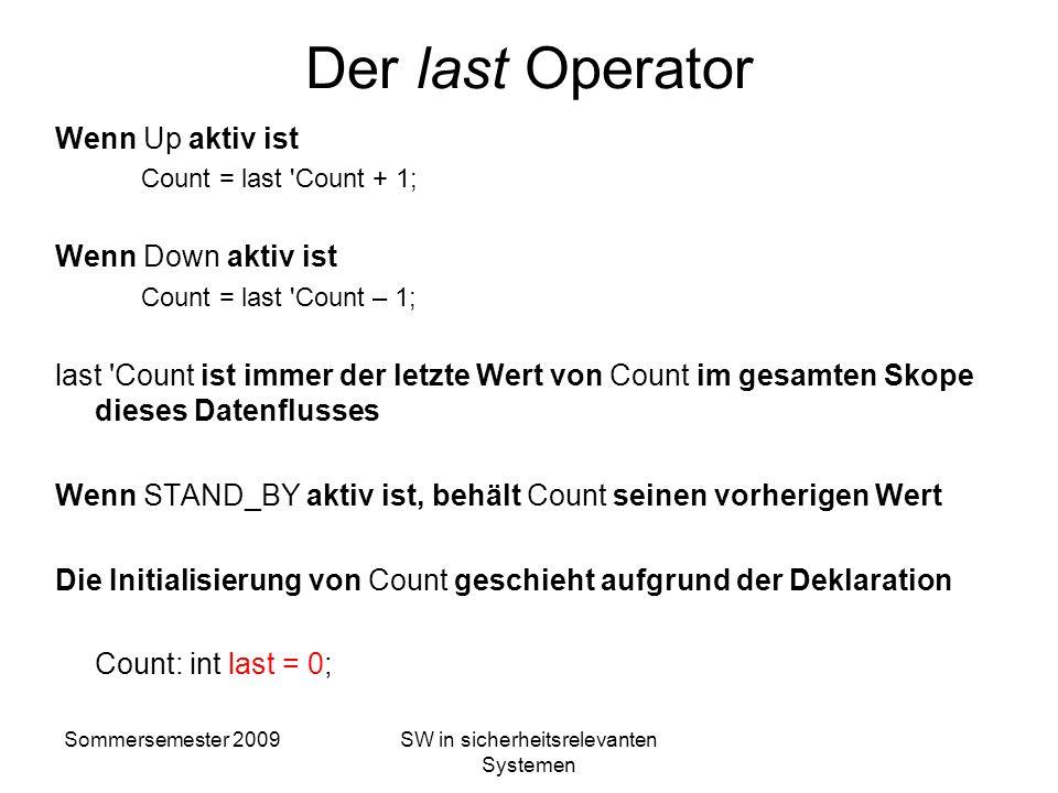 Sommersemester 2009SW in sicherheitsrelevanten Systemen Zustandsmaschinen Count: int last = 0;