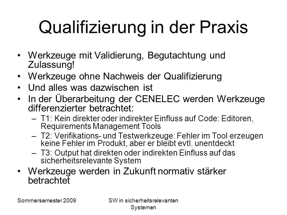 Sommersemester 2009SW in sicherheitsrelevanten Systemen Formal beweisbare Übersetzung Korrektheit der Übersetzung anhand eines formalen Nachweises auf