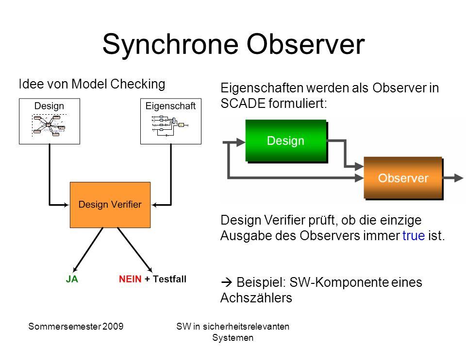 Sommersemester 2009SW in sicherheitsrelevanten Systemen Model Checking von SCADE-Modellen Durchführung: Verknüpfung mit synchronem Observer Anwendung