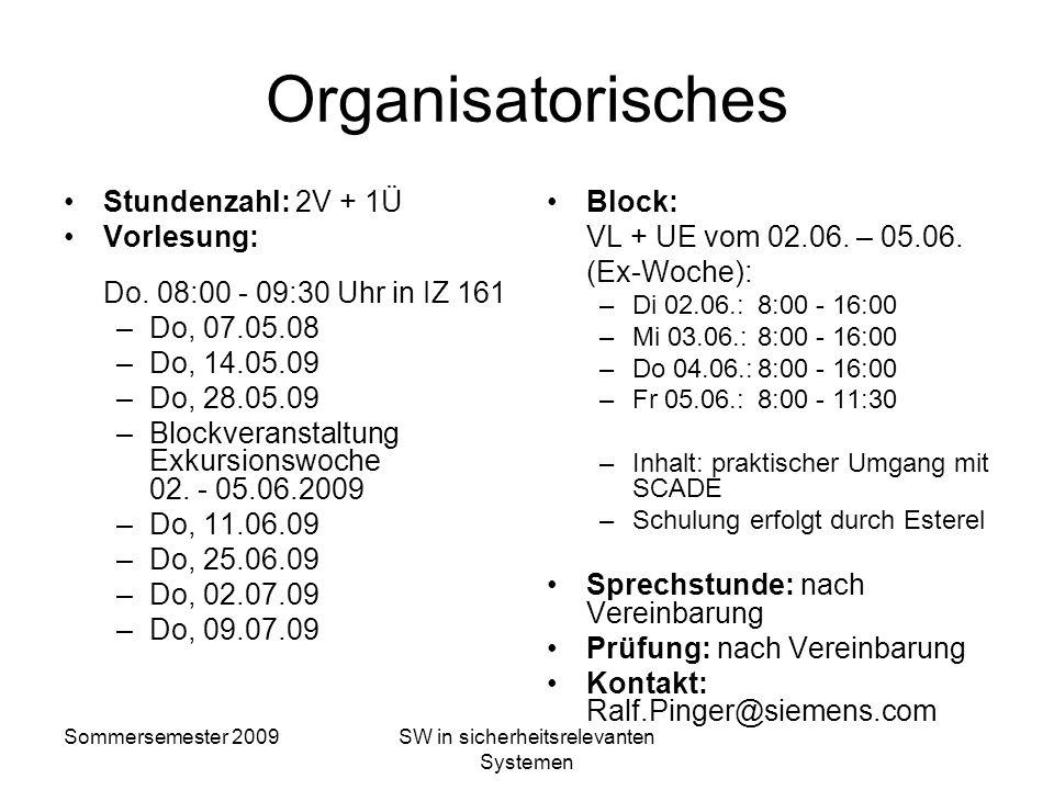 Sommersemester 2009SW in sicherheitsrelevanten Systemen Software in sicherheitsrelevanten Systemen Ralf Pinger Sommersemester 2009